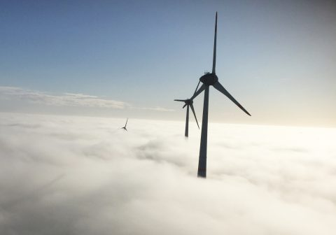 Wind turbines in clouds